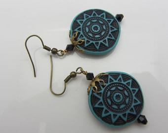 Southwestern Style Earrings Blue and Black Round Earrings Disc Earrings with Swarovski Crystals SRAJD USA Handmade