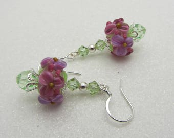 Lampwork Earrings Flower Earrings Glass Bead Earrings Dangle Drop Earrings Floral Earrings SRAJD Handmade