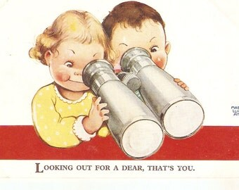 """Mabel Lucie Attwell postcard,  """"Looking out for a dear..."""" Genuine Attwell postcard No. 2887"""