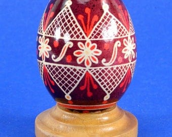 Polish Pysanky Egg Hand Painted Decorated Vintage Easter Blown Out Chicken Egg 20481