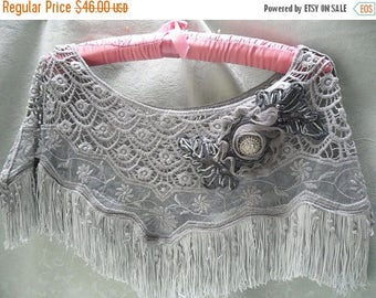 30% OFF Spring Cleaning CAPELETE Crocheted Romantic Whimsical Boho Shawl Fringe Embellished - Gray with Gray fringe