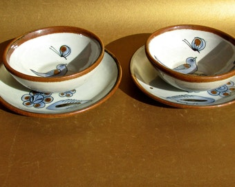 4 El Palomar Ken Edwards of Mexico, 2 Berry Bowls & Fruit Plates, Butterflies, Birds, and Flowers Mid Century Mexico