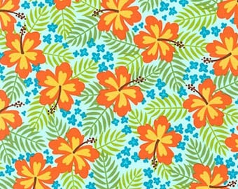 One (1) Yard -Beachy Keen Hibiscus Fabric by Robert Kaufman ACY-15894-70 Aqua Blue