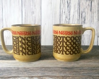 Cocoa Mugs Nestle Mugs Hot cocoa 1960s mugs Brown Mugs Advertising Mugs