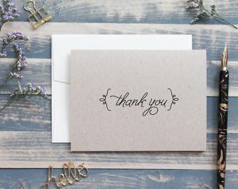 Rustic Kraft Thank You Personal Stationery Set - Stationary Gift - Wedding Thank You Card - Rustic Bracket