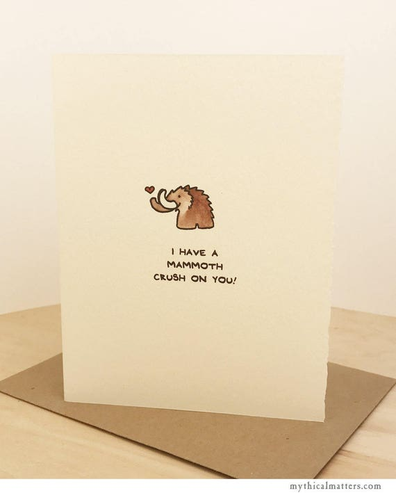 Love Card Cute Mammoth Wishes Nice Sweet Crush Funny Adorable Made in Canada Toronto Wholesale Romance Paleontology