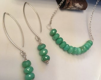 Green Peruvian Opal Necklace and Earring Set