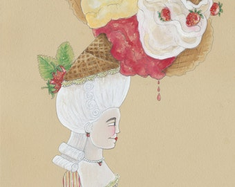 """Original Artwork Original Painting Original 11""""x14"""" Watercolor Original Ice Cream Art Ice Cream Gift Unique Gift Unique Food Art Gelato Gift"""