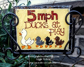 Ducks At Play Hand Painted Decorative Duck Slate Sign/Decorative Duck Yard Sign/Decorative Duck Coop Sign/Duck Coop Sign