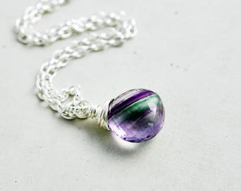 Fluorite Necklace, Sea Green Gemstone, Purple Gemstone, Violet Faceted Pendant Necklace, Sterling Silver