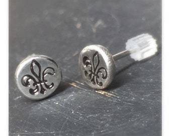 Chunky silver stud earring with Flor de Lis stamped design post style earring - single earring many available