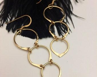 Gold Filled Crescent Cascade Earrings (E439GF)