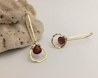 Gold Filled Hammered Teardrop & Garnet Threader Earrings. (E430GF-GA) wire jewelry by cristysjewelry on etsy