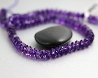 Faceted Amethyst Beads - 13 Inch Strand - Amethyst Beads - 7-8 mm