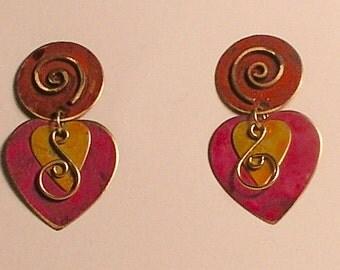 Pink patina copper heart earrings