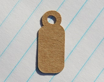 Mini Tags - Hang Tags - 100 Count - 1 x 0.4 inches - Kraft Tags - Die Cut Tags - Product Tags - Scrapbook Tags - Jewelry Tags