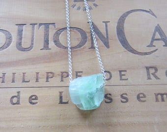 Rough Green Fluorite Natural Nugget Bead Necklace