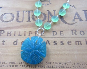 Blue and Green Sea Glass Necklace Beach Necklace Sand Dollar Necklace Mermaid Necklace