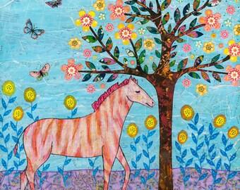 Zebra Painting Small Art Print Block, Ideal Small Gift, Home Decor Gift, Gift for Kids, Nursery Decor