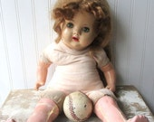 Vintage composition doll cloth and compo mama doll Shabby as is legs