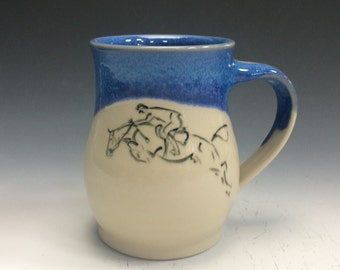 Jumping Horse Mug- Bright Blue #2