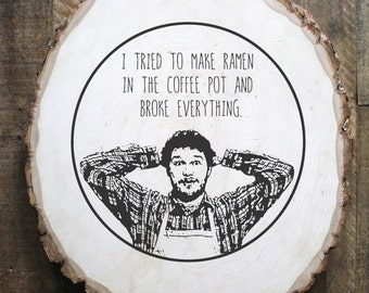 Chris Pratt Andy Dwyer Parks and Rec illustration on wood