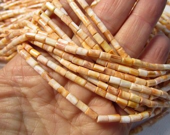 Spiny Oyster Shell Beads, 3mm x 5mm Barrel Tube Heshi Rondelle Beads, Natural Orange Gemstone, Lion Paw Shell Beads