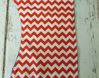 Red and white Chevron with a blue minky backing