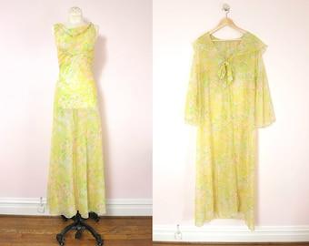 Vintage Peignoir Set   1970s Yellow Watercolors Nightgown & Peignoir   vintage lingerie   70s lingerie   summer lingerie