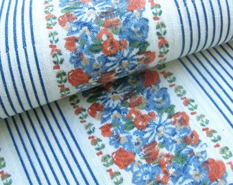 Vintage Cotton Fabric - FLORAL with Stripes - Dusty Blue and Orange Flowers / Blue Pinstripes / Dress Fabric