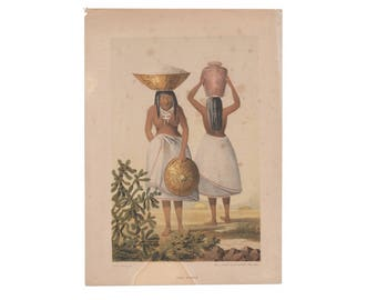 Pimo Women and Yumas - two antique Native American lithographs from 1857 survey report