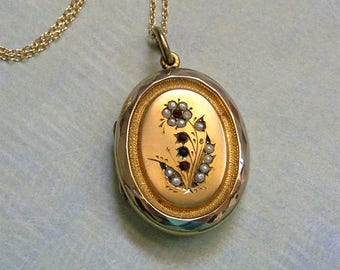 Antique Victorian Locket With Seed Pearls, Gold Filled Locket With Seed Pearls, Locket With Flower Motif, Seed Pearl Locket (L265)
