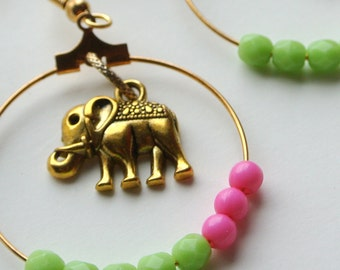 Pink and Green and Gold Elephant Hoop Earrings