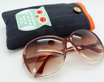Gadget /glasses case. Phone / glasses case.Owl print cotton padded case. Sun glasses case. I-Phone case.Mobile phone case.Glasses case.