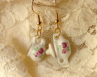 Miniature Tea Set Earrings - Cream and Sugar Earrings - Pink Rose Earrings - Rose Earrings - Afternoon Tea Time Jewelry - Tea Earrings