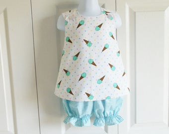 Cross-Back Pinafore Top and Bloomers Set baby or toddler - 6 mos to 6 yrs - Ice Cream Cone Pique - aqua or pink coordinate