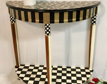 Whimsical painted table, leopard painted table, painted console table, painted sofa table