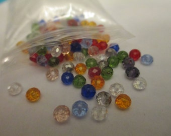 100 Glass Faceted Mixed Beads Jewelry Making Supplies Jenuine Crafts