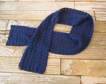 Pretty Blue Crocheted Super Scarf - Large - Blue - Thick and Warm - Crocheted - Giant scarf - ready to ship
