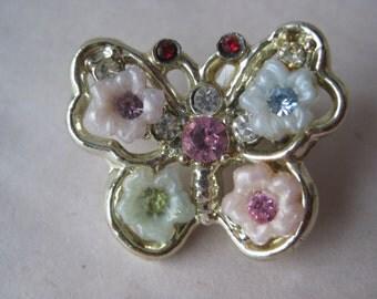 Butterfly Blue Pink Flower Brooch Red Rhinestone Silver Vintage Pin Pastel