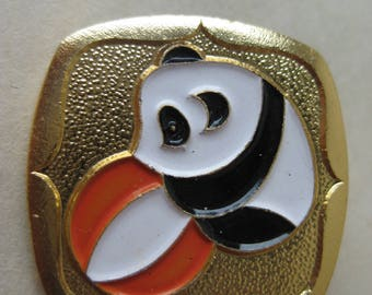 Panda Ball Chinese Exhibition Pin Orange White Black Gold Brooch Vintage