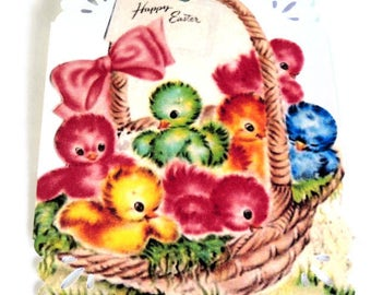 8 Gift Tags, Chicks in a Basket Easter Tags, Red Green Blue Yellow Merchandise Tags, Party Favor Tags