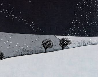 PRE-ORDER - Snow Storm Coming - Archival 8x8 Print - Winter Landscape Painting - Minimalist Art, Birds - by Natasha Newton