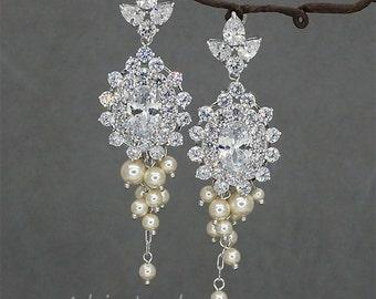 Chandelier Bridal Earrings Vintage Wedding Earrings Art Deco Earrings Crystal Earrings Rhinestone Chandelier Earrings with Swarovski Pearls