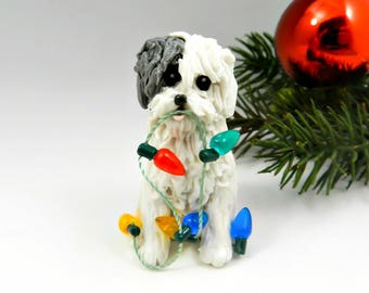 Old English Sheepdog Christmas Ornament Lights Porcelain