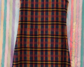 Vintage Jumper - Wool Blend Plaid Dress Pockets