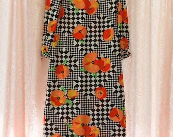 Vintage Gown - Maxi Evening 70s Black White Orange Poppies