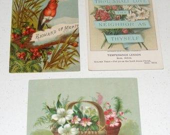 Antique Victorian era Card Lot Red Bird Spring Flower Basket