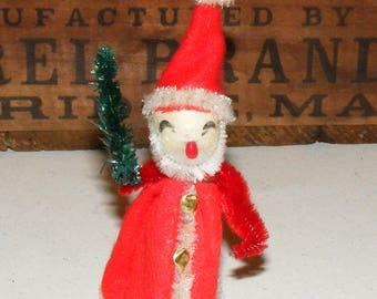 Vintage Spun Cotton Santa with Chenille Trim holding Bottle Brush Tree