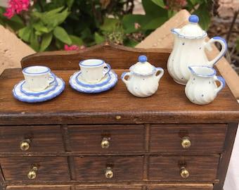 Dollhouse Miniature White and Blue Dots Tea Set